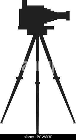 Old antique photo camera with tripod silhouette. Flat color vector illustration. - Stock Photo