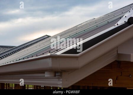 A close up of a new tin roof of a newly built house with selective blur in South Australia on 29th August 2018 - Stock Photo