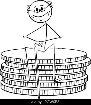 Cartoon of Old Retired Pensioner or Retiree Man Sitting on Small Stack of Coins - Stock Photo