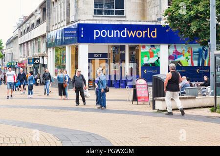 8 June 2018: Plymouth, Devon, UK - Poundworld in New George Street. - Stock Photo