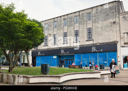 8 June 2018: Plymouth, Devon, UK - The closed BHS store in Cornwall Street, still unused nearly two years after its closure. - Stock Photo
