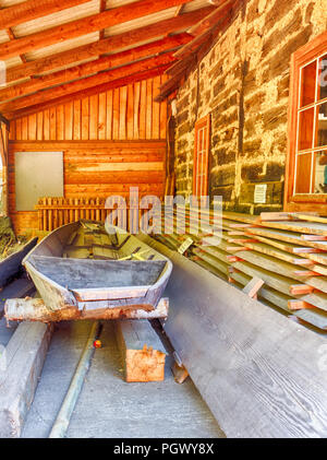 Old boat in open-air museum (Spreewaldmuseum) in Lehde, Spreewald, Germany - Stock Photo