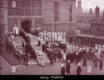 Funeral of Queen Victoria, 2 February 1901, carrying in of the Coffin, St George's chapel, Windsor Castle, Berkshire, England - Stock Photo