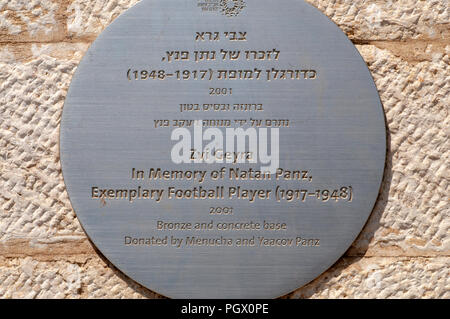 Statue of Natan Panz (September 28, 1917 – April 28, 1948) a Jewish football player from Mandatory Palestine, who played for Maccabi Tel Aviv and Beit - Stock Photo