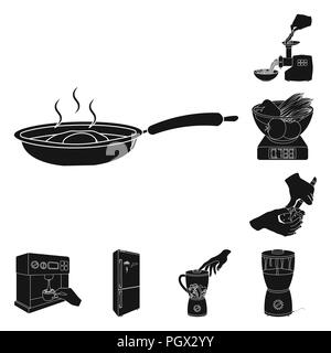 Cooking food black icons in set collection for design. Kitchen, equipment and tools vector symbol stock  illustration. - Stock Photo
