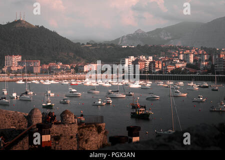 small fishing town and port. Sailing, fishing boats and motor yachts. Castro Urdiales, Cantabria. Spain - Stock Photo