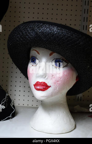 Female polystyrene mannequin head wearing dark black hat on display an English Antiques and Bric-à-brac centre - Stock Photo