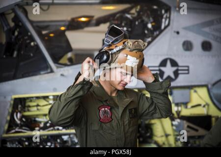 Pfc. John Meeske performs preflight checks on an AH-1Z Viper at Marine Corps Air Station Futenma, Okinawa, Japan, June 19, 2018. Marines perform preflight checks to ensure that flight operations are successful. Meeske a native of Dallas is an aircraft mechanic with Marine Light Attack Helicopter Squadron 469, Marine Aircraft Group 39, 3rd Marine Aircraft Wing, under the unit deployment program with MAG-36, 1st MAW. - Stock Photo
