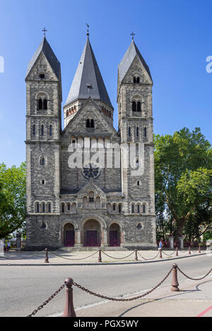 Temple neuf / Nouveau Temple protestant, Neo-Romanesque Protestant Reformed Church in the city Metz, Moselle, Lorraine, France - Stock Photo