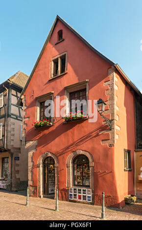 House of Rue du General de Gaulle in Kaysersberg, Alsace, France - Stock Photo