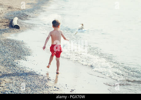 Funny adorable white Caucasian one young little boy in red swim shorts running on beach by water ocean sea with seagull, view from back, emotional lif - Stock Photo