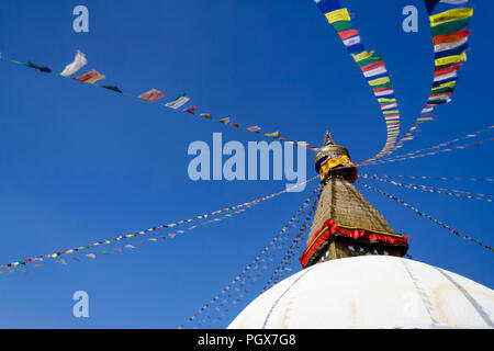 Bodhnath, Kathmandu, Bagmati, Nepal : Great Stupa of Bodhnath, the largest in Asia and one of the larger in the world. Unesco world heritege site. - Stock Photo