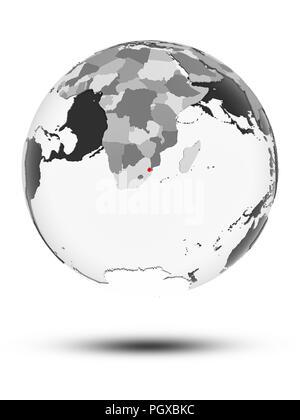 Swaziland on globe with translucent oceans isolated on white background. 3D illustration. - Stock Photo