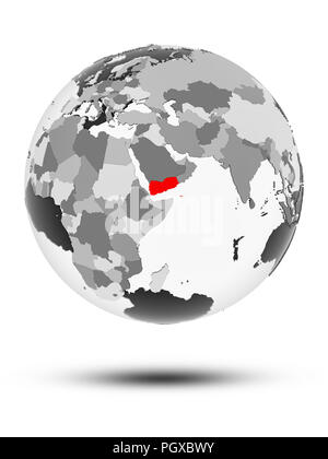 Yemen on globe with translucent oceans isolated on white background. 3D illustration. - Stock Photo