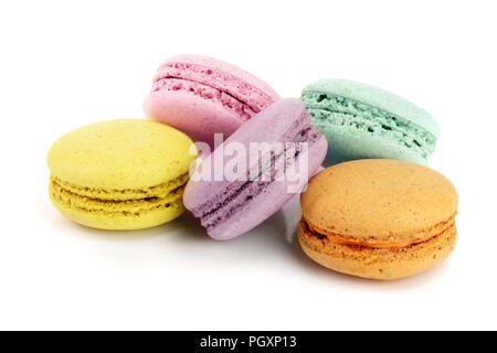 colorful macaroons isolated on white background closeup - Stock Photo