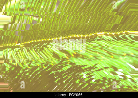 Surreal green palm tree leaves with shadows. and glitch effect. - Stock Photo