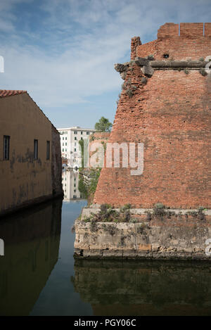 Fortezza nuova. Renaissance fortress surrounded by canals in the city center - Stock Photo