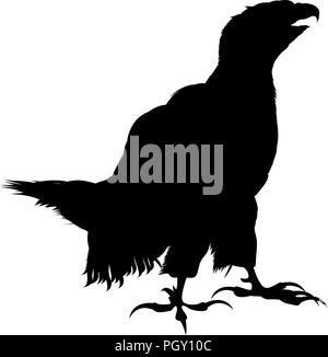 Standing bald eagle silhouette over white background - Stock Photo