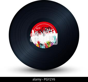 Rock and Roll vinyl record over white background - Stock Photo