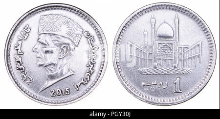 Pakistan 1 Rupee coin (2015) showing the head of Muhammad Ali Jinnah (1876-1948) founder of Pakistan (obverse) and Hazrat Lal Shahbaz Qalandar Mausole - Stock Photo