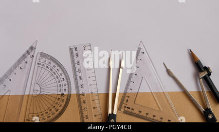 Flat lay of protractor compass set rulers - Stock Photo