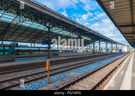 Railroad Station in Lausanne, Switzerland. - Stock Photo