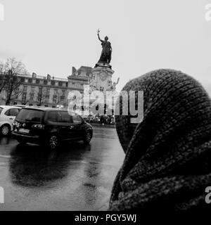 B&W square view of Paris streets in winter, Paris, Ile-de-France, France - Stock Photo