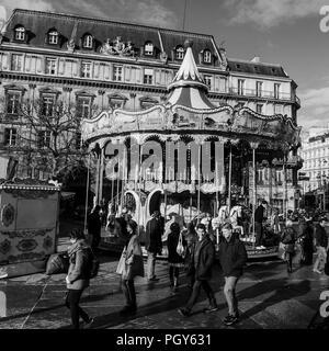 B&W square view of Paris streets in winter, Paris, Ile-de-France, France - Stock Photo