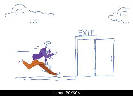 businessman run open exit door man hurry up evacuation emergency horizontal sketch doodle - Stock Photo