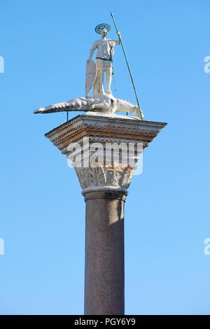 Venice, San Todaro statue on column in sunny day in Italy - Stock Photo