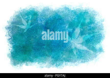 Japanese fresh maple leaf abstract on summer blue watercolor paint background - Stock Photo
