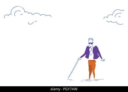 blind businessman alone walking stick crisis business hidden threats and risks concept horizontal sketch doodle - Stock Photo