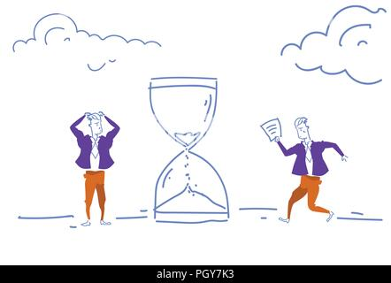 confused businessmen hurry up sand watch icon deadline concept time business men management teamwork process horizontal sketch doodle - Stock Photo