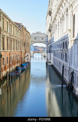 Bridge of Sighs, morning in Venice, wide angle view of the canal, Italy - Stock Photo