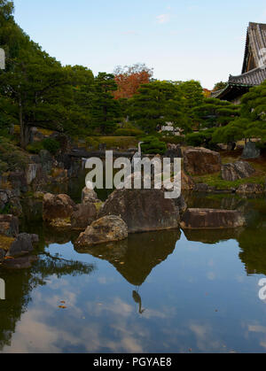 Photo shows the pond and gardens of the Ninomaru Palace inside Nijo Castle in Kyoto, Japan  on 13 Nov. 2014. The castle was built by shogun Tokugawa I - Stock Photo