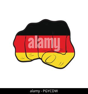 Germany flag on a clenched fist. Strength, Power, Protest concept - Stock Photo