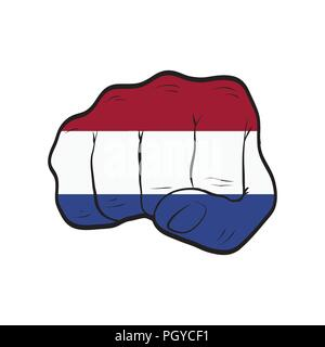 Netherlands flag on a clenched fist. Strength, Power, Protest concept - Stock Photo