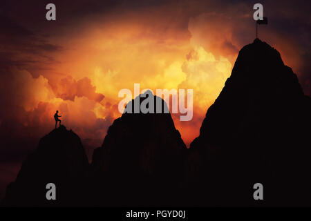 Self overcome as a businessman climbing graph shape mountain over the clouds for reaching the finish flag. Life is full of ups and downs concept. Diff - Stock Photo