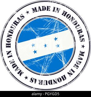 Made in Honduras grunge rubber stamp with flag - Stock Photo