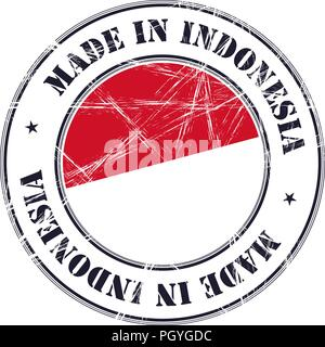 Made in Indonesia grunge rubber stamp with flag - Stock Photo