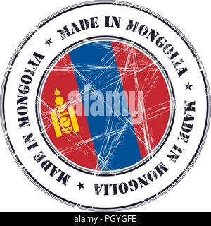 Made in Mongolia grunge rubber stamp with flag - Stock Photo