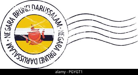 Brunei grunge postal stamp and flag on white background - Stock Photo