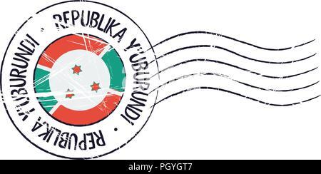 Burundi grunge postal stamp and flag on white background - Stock Photo