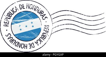 Honduras grunge postal stamp and flag on white background - Stock Photo