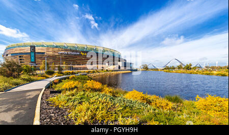 Optus Stadium surrounded by parkland. - Stock Photo