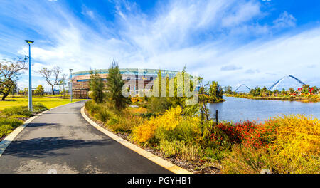 Optus Stadium and Stadium Park. Perth, Australia