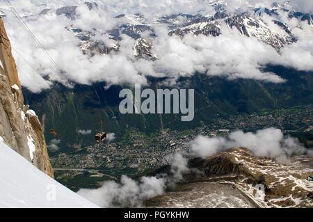 France - Alps - Chamonix - Cable car to Aiguille du Midi - Stock Photo