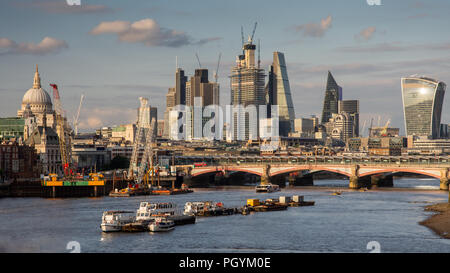 London, England, UK - June 12, 2018: New skyscrapers under construction in Bishopsgate contribute to the ever-changing City of London skyline as viewe - Stock Photo