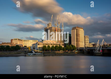 London, England, UK - June 12, 2018: New skyscrapers are under construction at the Shell Centre behind the Royal Festival Hall on the South Bank of th - Stock Photo