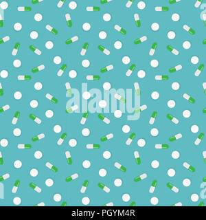 Colorful Health Medical Background. Seamless pattern. Vector Illustration - Stock Photo